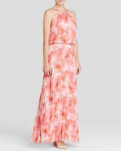 AQUA ~ Pink Floral Chiffon Blouson Fan Pleat Evening Gown 2 NEW $268
