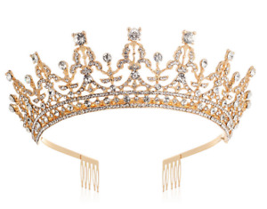 Queen Crown Gold Tiara with Clear Rhinestone for Birthday Girl Prom Bridal Party