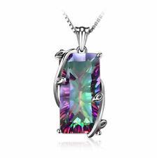 925 Silver Big Mystic Rainbow Topaz Pendant Chain Chocker Party Prom Necklace