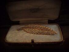 Gioielli vintage art deco cristallo Rhinestone arrugginite Oro Foglia Spilla