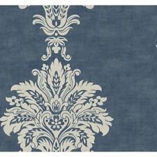Wallpaper Designer Large Ivory Damask Stripe on Blue Background
