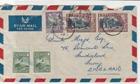 ceylon 1950 assorted buildings air mail stamps cover ref 20532