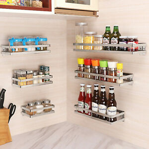 Wall Mounted 1 Tier Herb  Spice Rack Non Slip Storage Organiser Stainless Steel