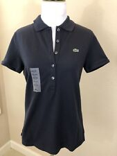 NWT: Women's LACOSTE Navy Button Front Short Sleeve Polo Shirt 8 ($89.50)