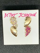 Betsey Johnson Gold-tone Pink & White Breaking Hearts Earring Set 2 Pair