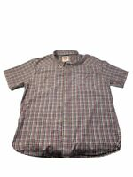 Levis Mens Button Front Shirt Red Plaid Short Sleeve Point Collar Pocket XXXL