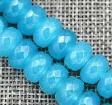 "Blue 6x10mm Brazilian Aquamarine Gems Rondelle Loose Beads 15"" AAA"
