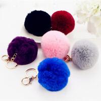 Rabbit Fur Ball Car Cute Keychain Lot PomPom Women Bag Charm Pendant Key Ring