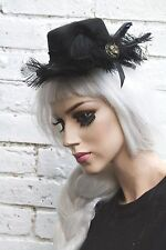 MINI TOP HAT BLACK FEATHER HALLOWEEN GOTHIC RACES VICTORIAN GRUNGE BRIDAL RACES