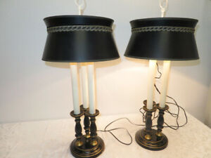 PAIR Vintage Black Tri Candle 2 Lights Tole Bouillotte Table Lamps
