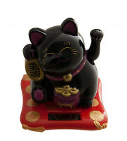 Gato Japonés Negro 10 CM Amuleto de la Suerte Maneki Neko Pata Animación Sol 407