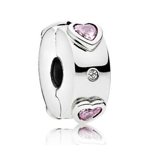 Silver Plated pave pink heart inspirational Slim SPACER Clip Stopper charm
