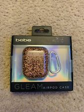 Bebe Gleam Airpod Case Glitter Rose Gold Keychain Fashion Cell Phone Accessories