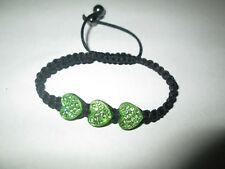 """Bracelet  """" Shamballa de 3 Coeurs Verts en Strass  """",NEUF!"""