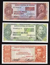 Bolivia Central Bnak Lot of 3 Notes 50 50000 100000 Pesos 1962 1984  UNC!!!!