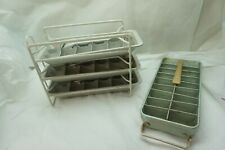 VINTAGE ALUMINUM ICE CUBE TRAYS LOT OF 4 AND RACK METAL FRIGIDAIRE MAGIC TOUCH d