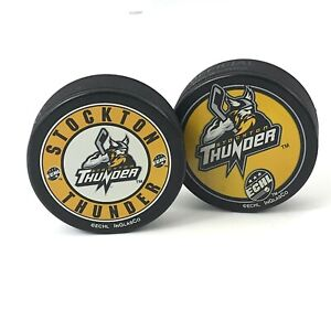 ECHL Stockton Thunder Official InGlasco Puck Made in Slovakia Lot of 2 New Item