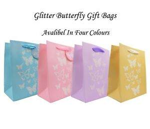 Glitter Butterfly Gift Bag, Luxury Gift Bag (6 Pack),Baby Shower, Party Bag