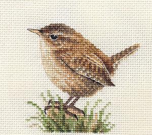 WREN Garden Bird, Full counted cross stitch kit with all materials *Fido Stitch