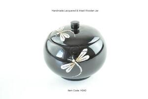 Decorative Handmade Lacquer Eggshell Inlaid Wood Round Box Small Jar Black H040
