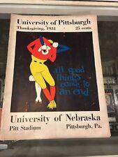1931 PITT UNIVERSITY PITTSBURGH NEBRASKA PROGRAM STADIUM VG/EX THANKSGIVING