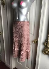 DKNY Womens Rose Mauve- Lace Silk Blend Skirt -SIZE 12 - Lined