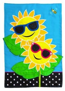 "Fancy Sunny Day 168671BL Evergreen Applique Garden Flag 12.5"" x 18"""