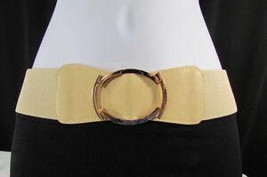 Women Elastic Fashion Belt Hip High Waist Gold Big Metal Buckle Black Beige S M