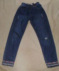 Matalan Boyfriend Jeans with Fringe Trim Age 10 Years