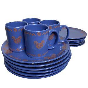 Disneyland Paris Purple Plate & Mug Set 6x Small Plate 6x Dinner Plate 4x Mug