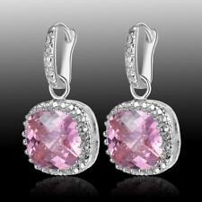 Classic Style Pink Kunzite Quartz 925 Sterling Silver Gemstone Earrings