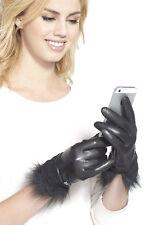UGG Australia Quinn Leather Toscana Trim Smart Tech Winter Gloves Small Black
