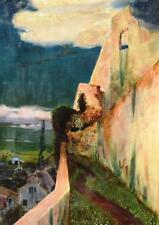 Gustav Arnold Thornam 1877-1964 Kopenhagen / Gemälde 1896 / Landschaft m. Ruine