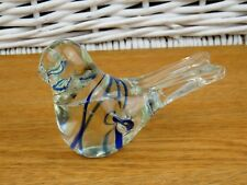 Clear Blue Swirl Glass Bird Paperweight