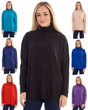 Ladies Soft BHS Long Sleeve Ribbed Roll Sweater Neck Top Jumper