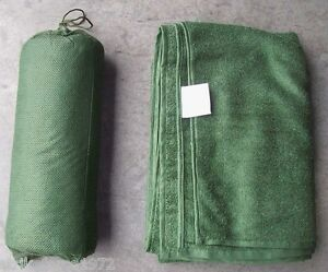 NEW British Army Issue Green Micro-Fleece Combat Towel With Stuff Bag - LARGE