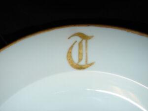 Antique Czechoslovakia Monogram T Gold Trim Fine China Dinner Plate 10 Inch