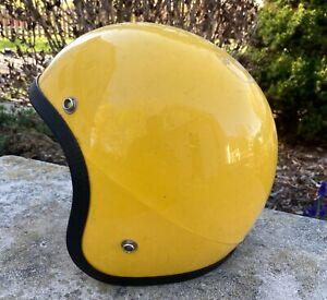 Motorcycle Snowmobile Helmet Yellow Vintage Universal Size