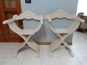 Pair of Vintage Antique Italian 70s Folding Wood Chair Savonarola