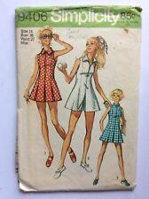 Vtg Simplicity Pattern 9406 Misses Tennis/Sport Dress & Shorts, Sz 14, 1970's