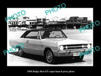 OLD LARGE HISTORIC PHOTO OF 1968 DODGE DART GT COUPE LAUNCH PRESS PHOTO 1