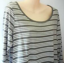 TARGET LADIES STRIPED TOP WITH' LONG SIDES' SIZE 12, KHAKI & WHITE 3/4 SLEEVES