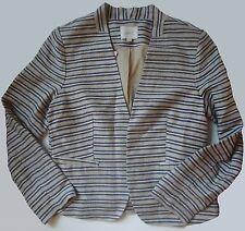 NWT Ann Taylor LOFT Linen Blend Striped Colorless Jacket Size 12