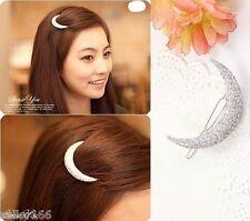 Korea Style Women Crystal Moon Hair Clips Barrette Hairpins Hair Accessories