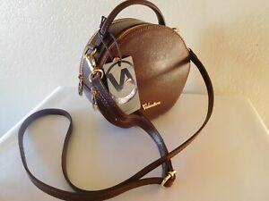 New VALENTINA Round Leather Canteen Style Double Zip Crossbody Shoulder Handbag
