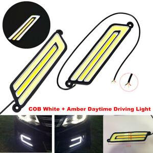 2PCS U Shape COB White+Amber LED Light Car Driving Light DRL Lamp 12V Waterproof