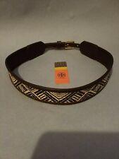 Tory Burch brown leather and woven straw waist belt sz XS originally $165