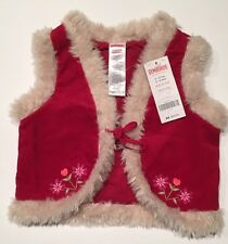 NWT Gymboree Peruvian Doll 6-12 Months Red Corduroy Embroidered Fur Trim Vest