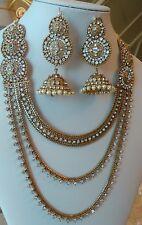 Indian Bollywood gold Rani haar tika Bridal Jewellery necklace Earrings set UK