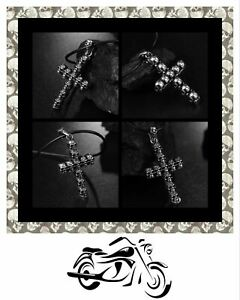 Quality Stainless steel bikers SKULL CROSS Pendant & Leather Necklace.